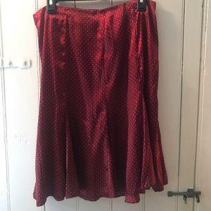 Red Polka Dot Midi Skirt